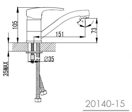 JESENIK смеситель для кухни, хром, 35 мм 20140-15 IMPRESE