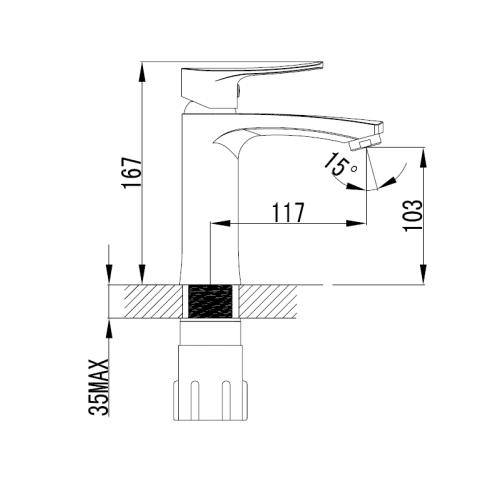 Смеситель для раковины VOLLE DANIELLA 15161100