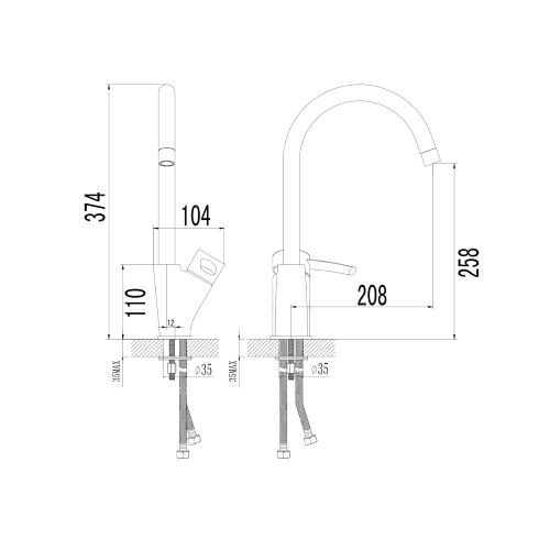 MORAVA смеситель для кухни, хром, 35мм 55220 IMPRESE