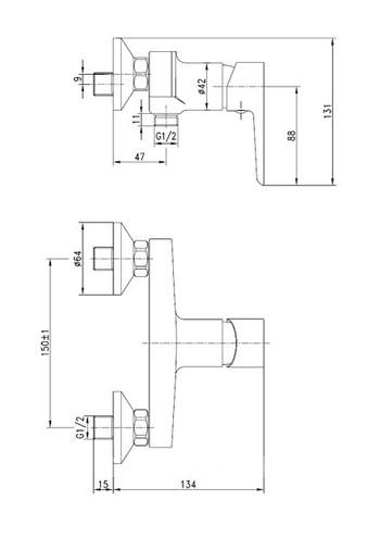 BRECLAV смеситель для душа, хром, 35мм 15245 IMPRESE