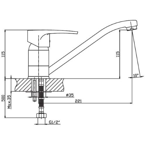 Смеситель для мойки HESSA FRANCK 004 (25cm)