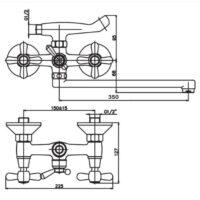 Смеситель для ванны Haiba Dominox 143 HB0070 с длинным изливом (35 см) с душем (лейкой) и шлангом (150 см)