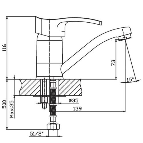 Кухонный смеситель Haiba Focus 004-15 HB0117