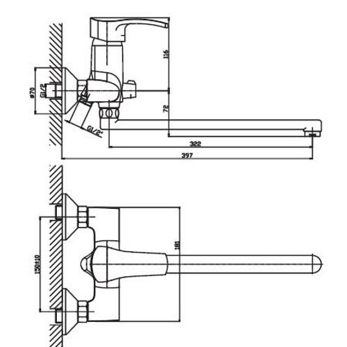Смеситель для ванны Haiba Focus 006 euro HB0120