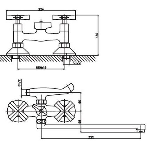Смеситель для ванны Haiba Sentosa 006 HB0358