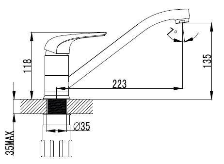 KRINICE смеситель для кухни, хром, 35мм 20110 IMPRESE