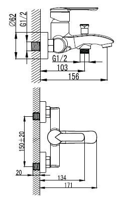 MZE смеситель для ванны, хром, 35мм 10130 IMPRESE