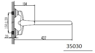 PRAHA смеситель для ванной, хром, IMPRESE 35030