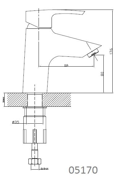 HORAK смеситель для раковины, хром, IMPRESE 05170