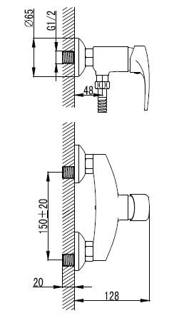 JESENIK смеситель для душа, хром, 35 мм 15140 IMPRESE