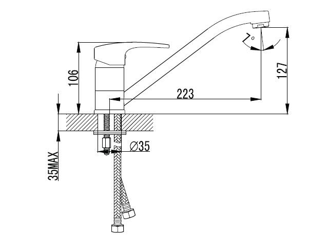 JESENIK смеситель для кухни, хром, 35 мм 20140 IMPRESE
