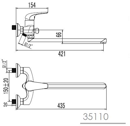 KRINICE смеситель для ванны с длинным изливом, хром, 35мм 35110 IMPRESE