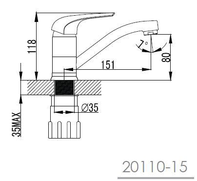 KRINICE смеситель для кухни с коротким изливом, хром, 35мм 20110-15 IMPRESE