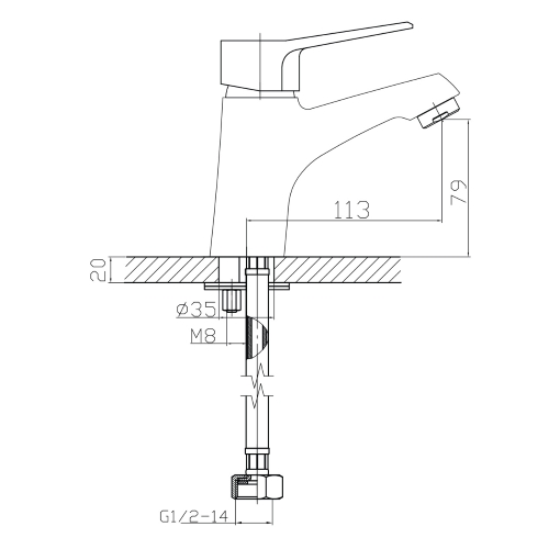 WITOW смеситель для раковины, хром, IMPRESE 05080