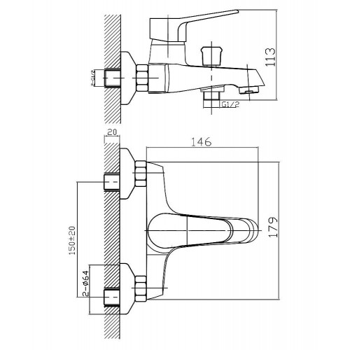 WITOW смеситель для ванны, хром, 35 мм 10080 IMPRESE
