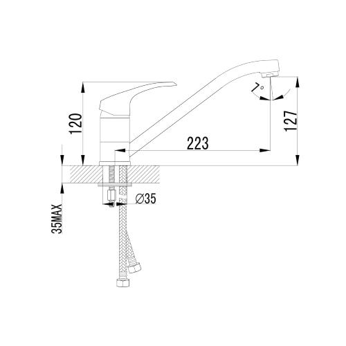 MALSE смеситель для кухни, хром, 35 мм 20010 IMPRESE