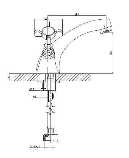 CUTHNA stribro двухвентильный смеситель для раковины, хром 05280 stribro IMPRESE