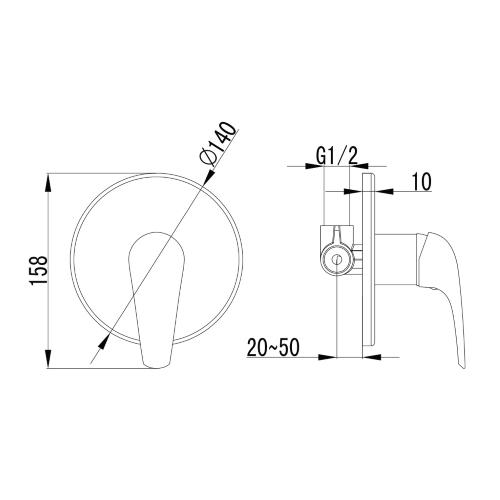 KRINICE смеситель скрытого монтажа для душа VR-15110 (Z) IMPRESE