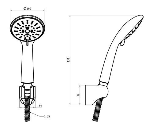Набор душевой — ручной душ 3 режима, шланг, держатель, блистер S1001003 IMPRESE