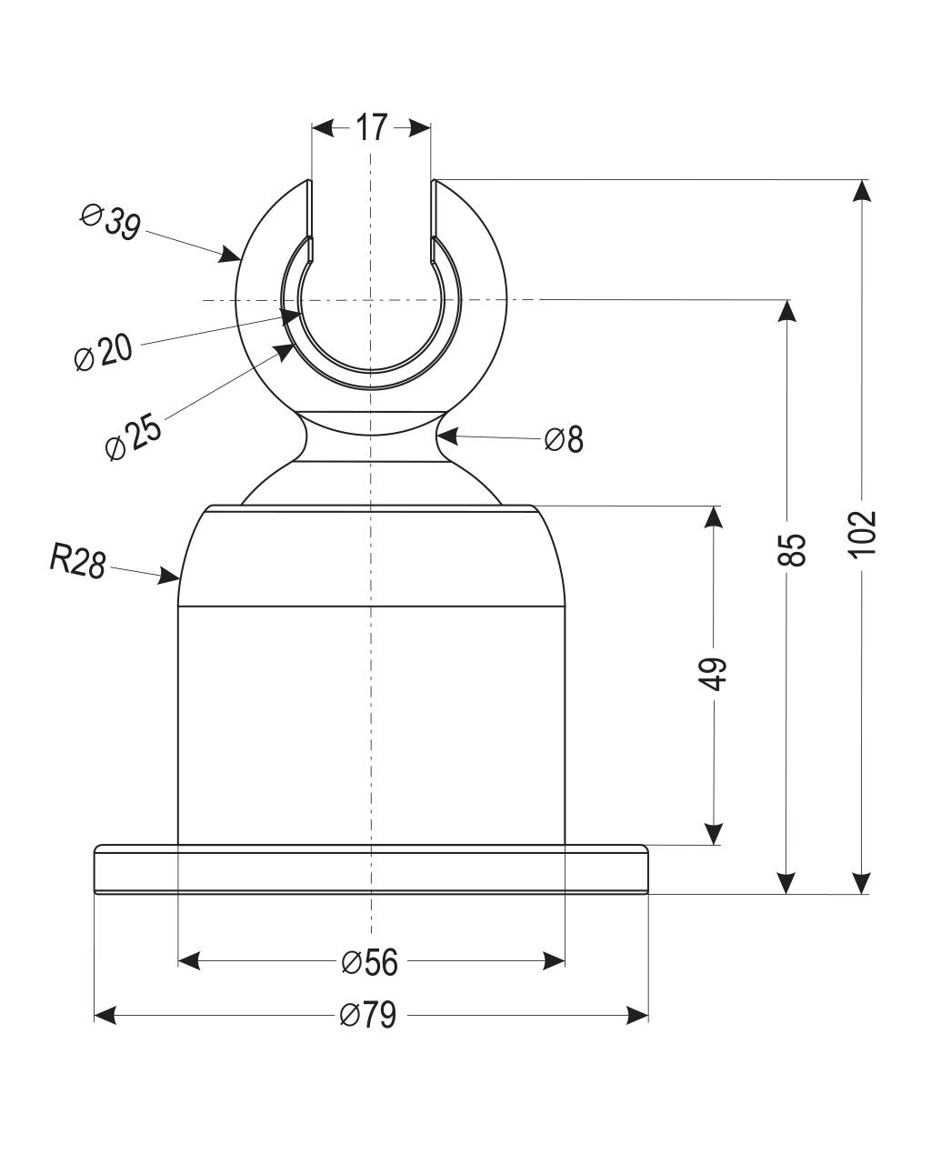 Держатель душевой лейки , настенный, крупный, регулируемый 360°, хром, картон S033 carton IMPRESE
