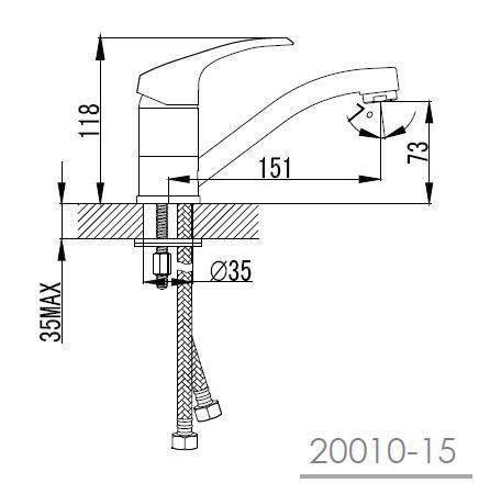 MALSE смеситель для кухни c коротким изливом, хром, 35 мм 20010-15 IMPRESE