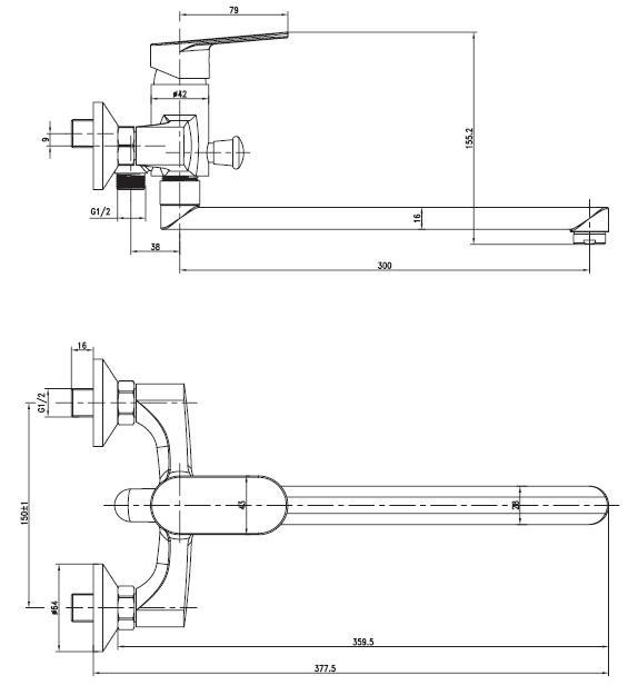 LASKA cмеситель для ванны, с длинным изливом, хром, 35 мм 35040 IMPRESE
