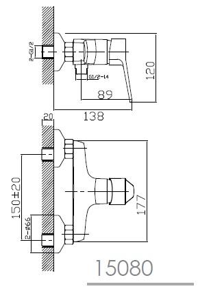 WITOW смеситель для душа, хром, 35 мм 15080 IMPRESE