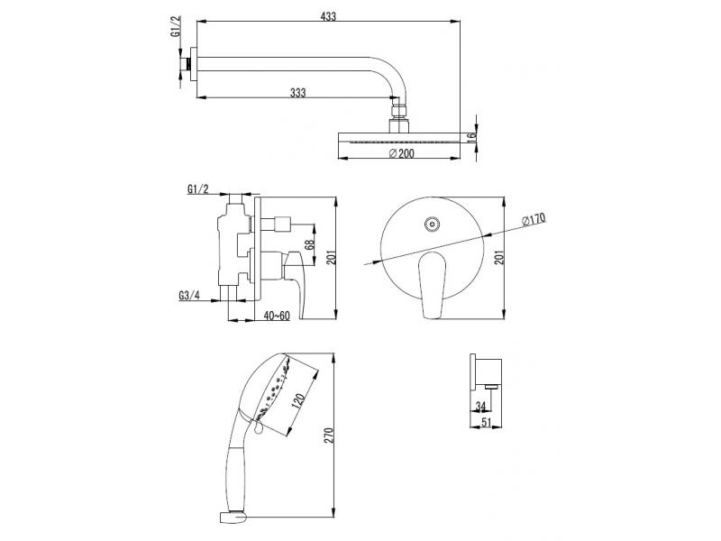 JESENIK смеситель скрытого монтажа для душа(смес.с переключ.,верхн.душ диам.200мм,ручной душ 120мм,3режима) VR-15140 IMPRESE