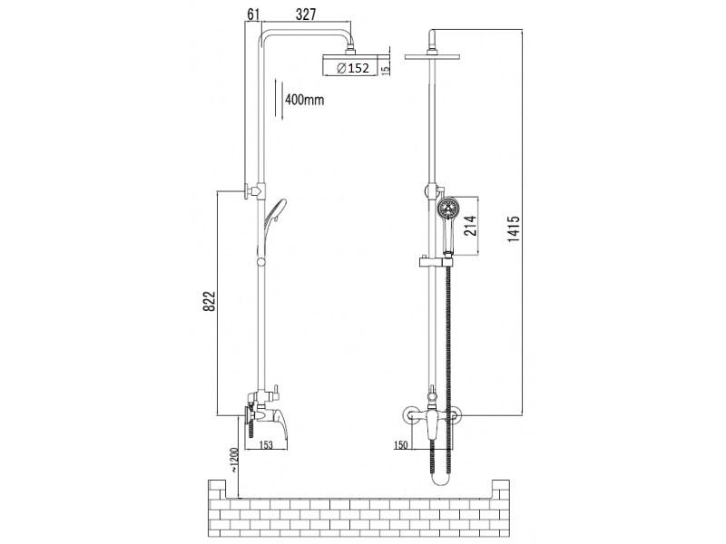 JESENIK система душевая (смеситель для душа, верхний и ручной душ, 3 режима, шланг 1,5м) T-15140 IMPRESE