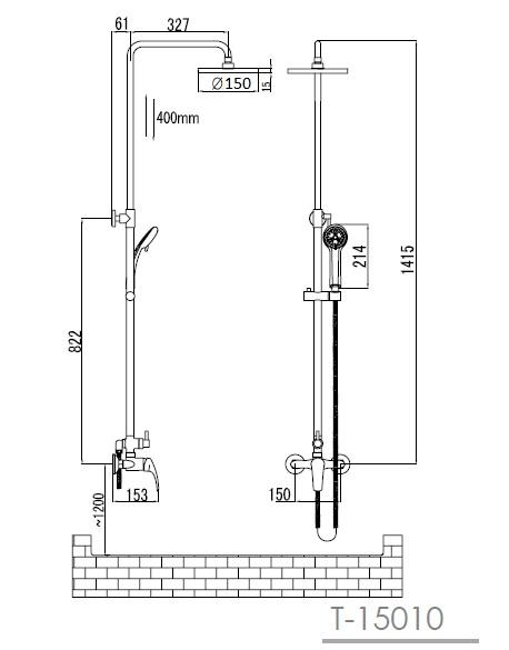 MALSE душевая система, IMPRESE T-15010