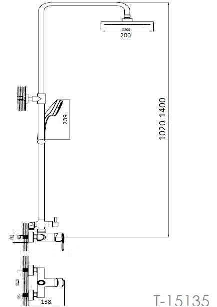 NOVA VLNA система душевая (смеситель для душа, верхний и ручной душ, 3 режима, шланг 1,5м) T-15135 IMPRESE