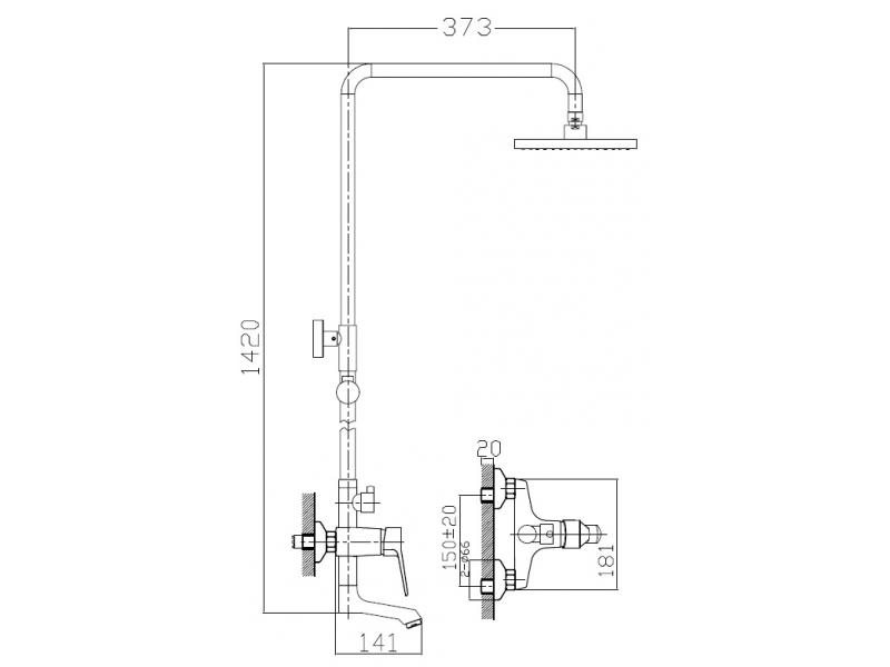 WITOW система душевая (смеситель для ванны, верхний и ручной душ) T-10080 IMPRESE