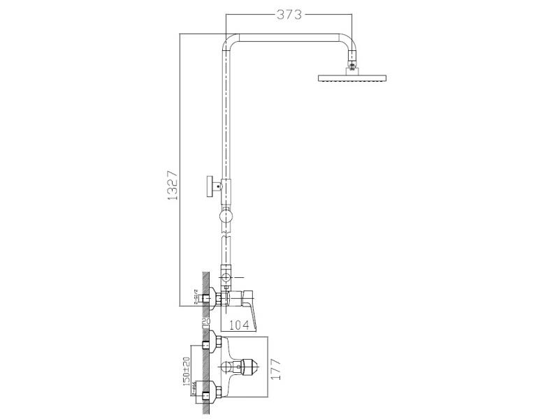WITOW система душевая (смеситель для душа, верхний и ручной душ) T-15080 IMPRESE