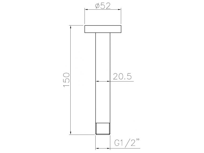 Держатель лейки подкл. с потолка длина 150 мм, 1/2″ SH01-150 IMPRESE