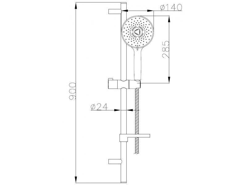 Штанга душевая NETKA L-90см,мыльница,ручной душ 3 реж,шл 1,5м полимер с мет.эффектом вращ.конус(Anti-Twist)бли 9014003 IMPRESE