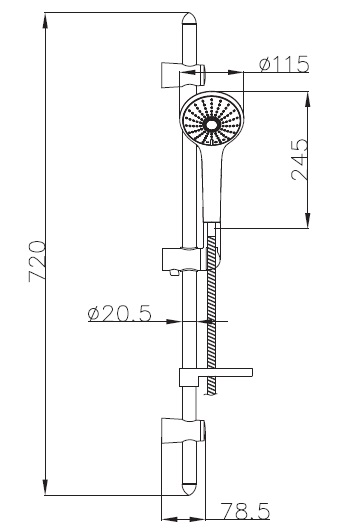 Штанга душевая VACLAV L-72см,мыльница,ручной душ 3 режима,шланг 1,5м с вращающимся конусом (Anti-Twist),блист. 7212003 IMPRESE