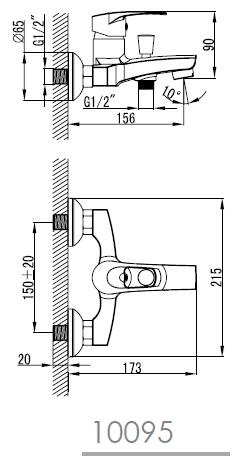 LIDICE смеситель для ванны, хром, 35 мм 10095 IMPRESE