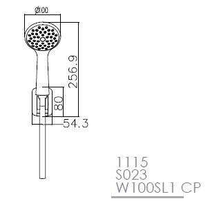 Набор душевой — ручной душ 1 режим, шланг, держатель, блистер 1115+S023+W100SL1 СP IMPRESE