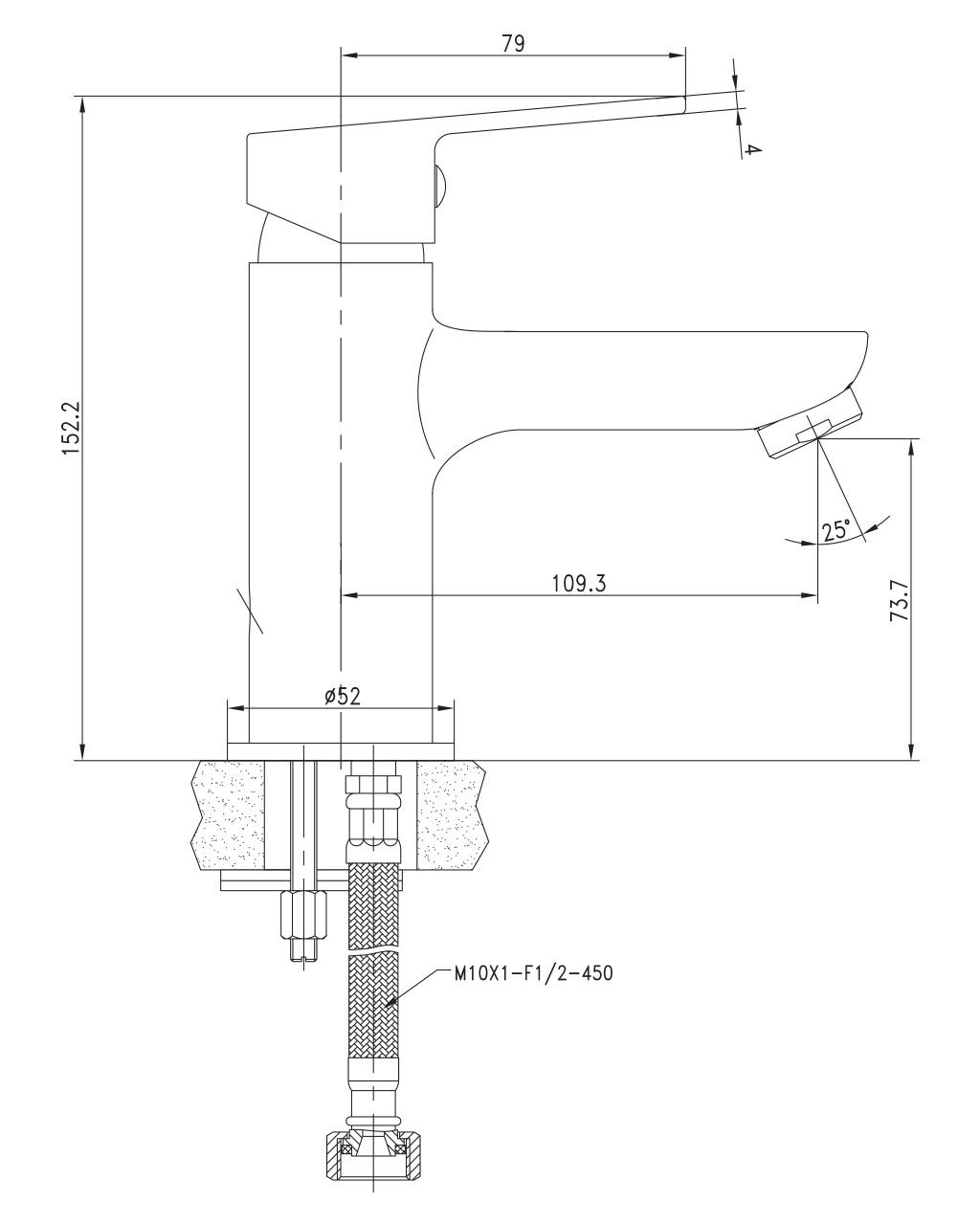 LASKA cмеситель для раковины, сатин, 35 мм 05040(35)S IMPRESE
