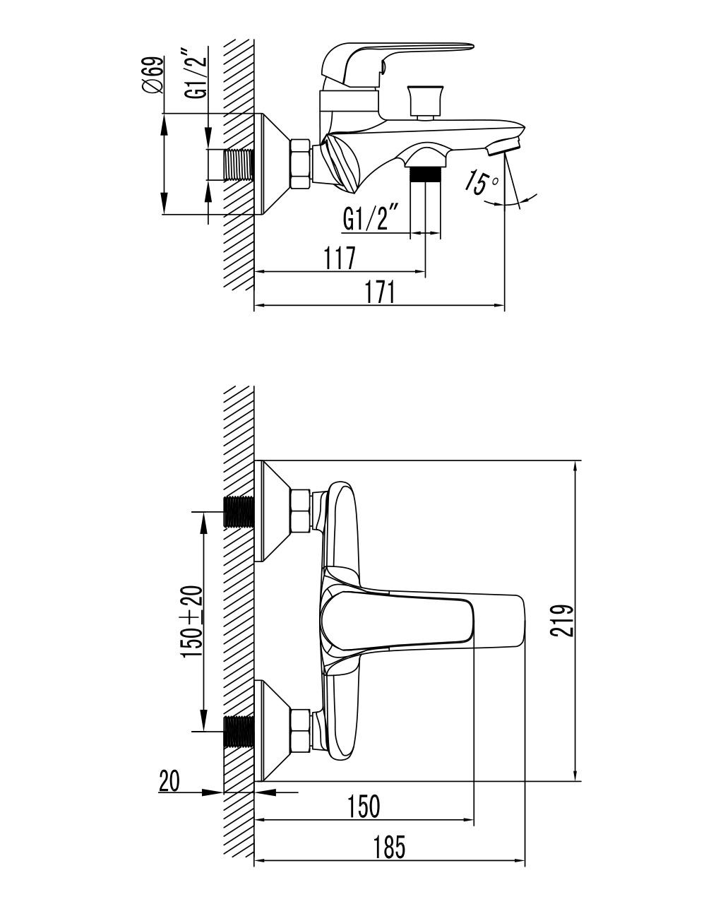 NOVA OPAVA cмеситель для ванны, хром, 35 мм 10075 IMPRESE