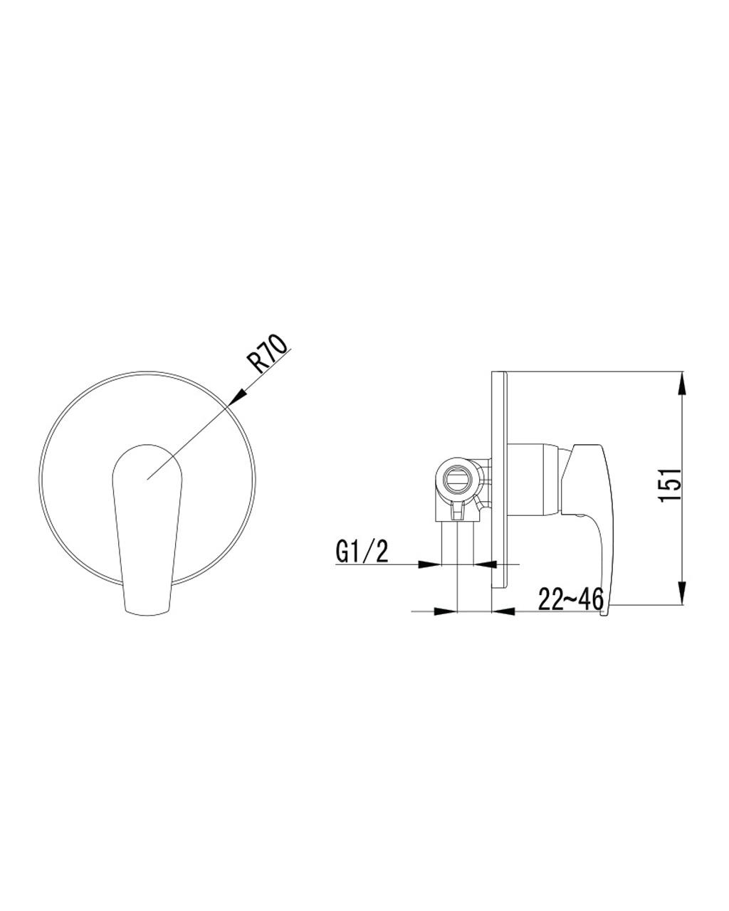 JESENIK смеситель скрытого монтажа для душа VR-10140(Z) IMPRESE