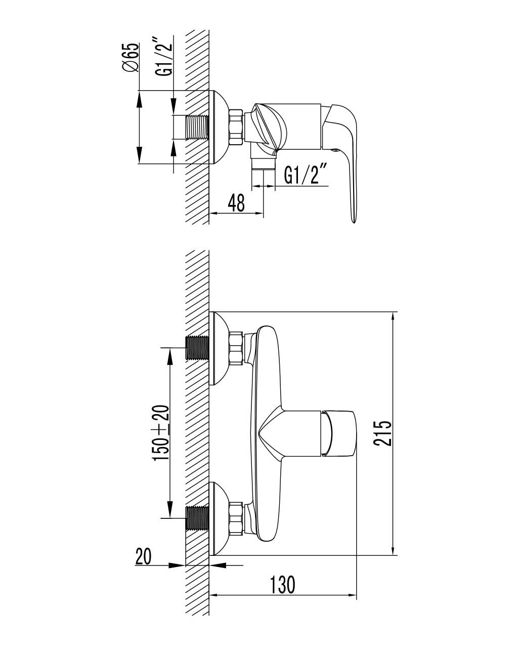 NOVA OPAVA смеситель для душа, хром, 35мм 15075 IMPRESE