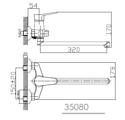 WITOW смеситель для ванны, хром, IMPRESE 35080