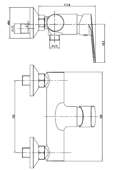 LESNA cмеситель для душа, хром, 35 мм 15070 IMPRESE
