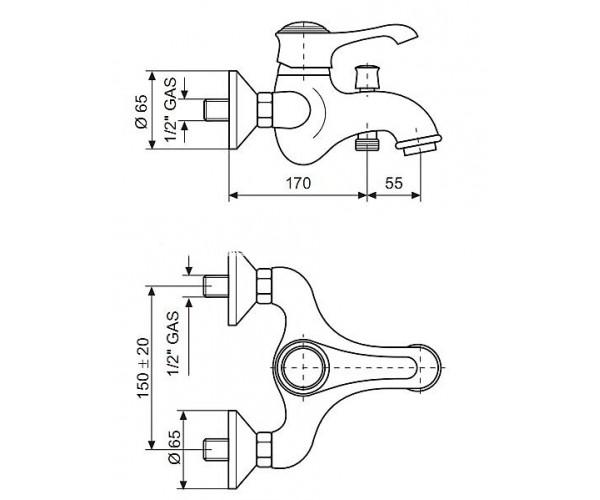 Смеситель для ванны EMMEVI TIFFANY белый-хром BC6001