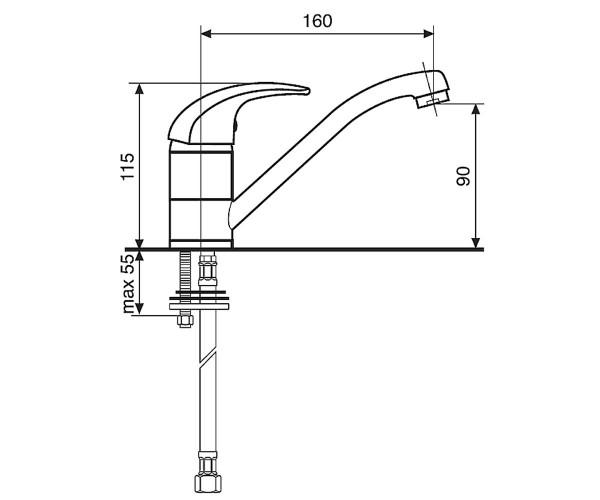 Смеситель для кухни EMMEVI JOLLY CR10007GCC