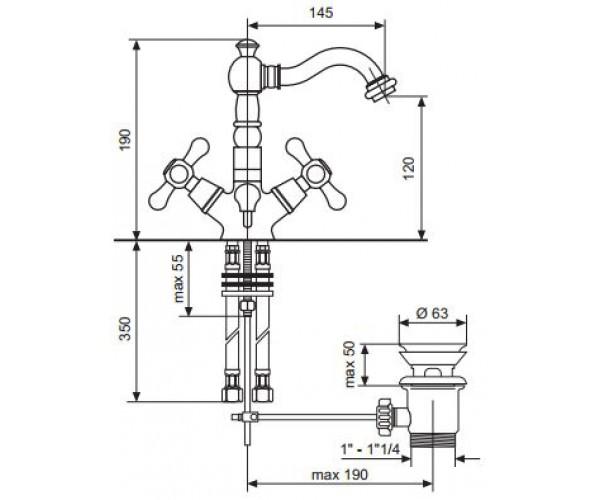 Смеситель для раковины EMMEVI DECO OLD BR12615