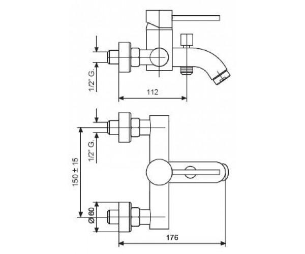 Смеситель для ванны EMMEVI PIPER CR45001