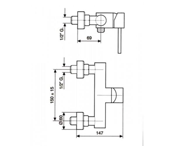 Смеситель для душа EMMEVI PIPER мат-хром SC45002