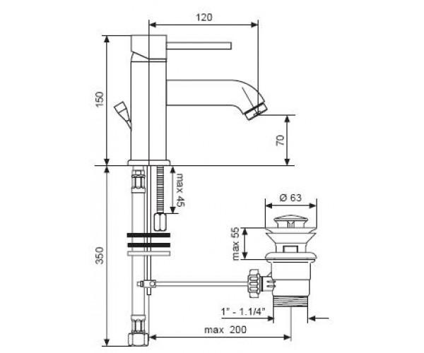 Смеситель для раковины EMMEVI PIPER CR45003